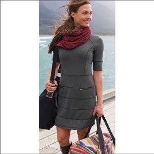 Athleta Strata gray fitted pocket dress sz large